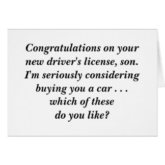 Congratulations on your driver's license! card