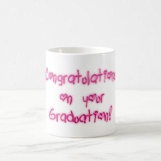 Congratulations on your Graduation Pink Typography Coffee Mug