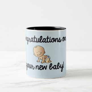 Congratulations on your new baby boy Two-Tone coffee mug