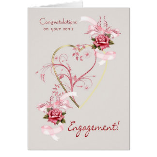 Congratulations on your son's engagement Roses And Card