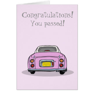 Congratulations Passed Driving Test Pink Figaro Card