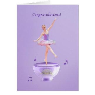 Congratulations, Performance, Music Box Ballerina Card