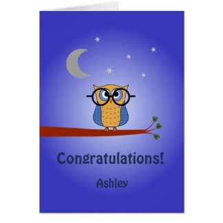 Congratulations personalized text clever night owl card