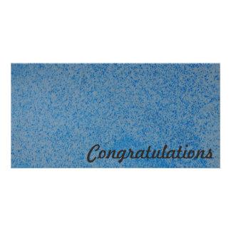 Congratulations photo card - blue splatter