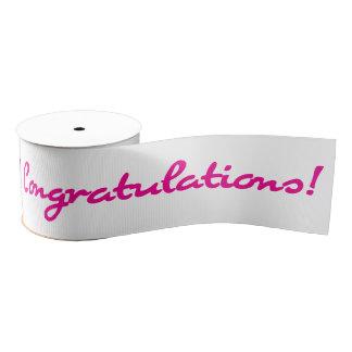 Congratulations Pink Casual Script Grosgrain Ribbon
