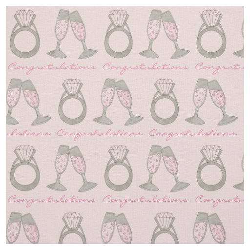 Congratulations Pink Champagne Wedding Ring Fabric