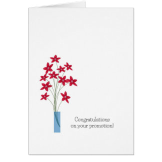 Congratulations Promotion Cards, cute red flowers Card