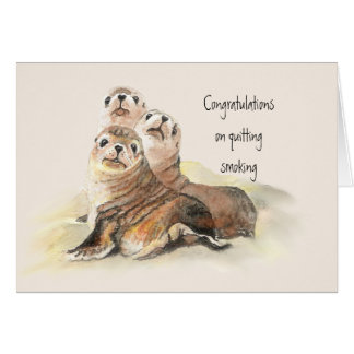 Congratulations Quitting Smoking Humor Cute Seals Card