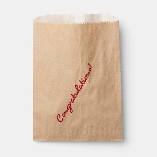 Congratulations Red Casual Script Favour Bag