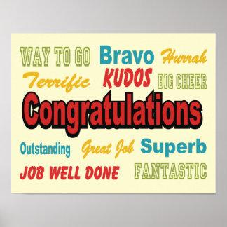 Congratulations Retro Colors Poster