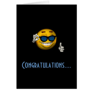 """Congratulations"" - Smiley w/ Sunglasses Card"
