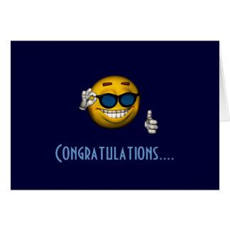 """Congratulations"" - Smiley w/ Sunglasses Card"