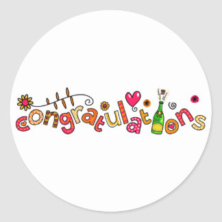 Congratulations Special Occasion Doodle Text Classic Round Sticker