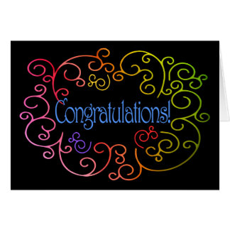 Congratulations/Success - Rainbow Swirls on Black Cards