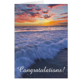 Congratulations! - Surfing beach waves at sunset Card
