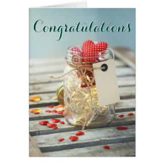 Congratulations sweet rustic jar petals hearts card