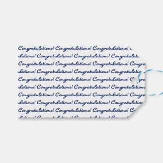 Congratulations! Tiled Blue Casual Script Gift Tags