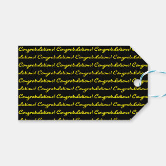Congratulations! Tiled Bright Yellow Casual Script Gift Tags