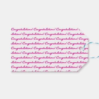 Congratulations! Tiled Hot Pink Casual Script Gift Tags
