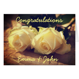 Congratulations Wedding Roses Personalised Card