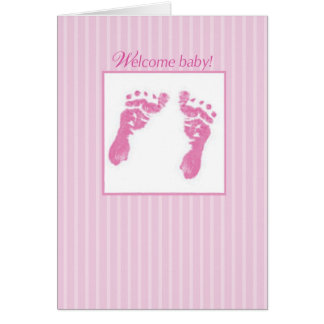 Congratulations, Welcome New Baby Girl, Footprints Greeting Card