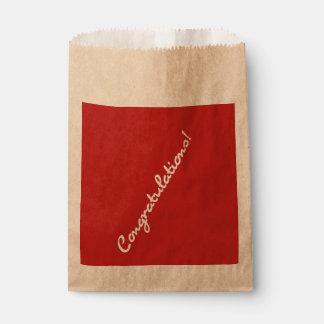 Congratulations White Casual Script Favour Bag