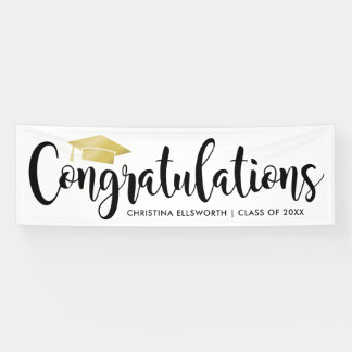 Congratulations with Gold Grad Cap | Graduation Banner
