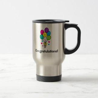 Congratulations with Smiling Balloons and Hearts Travel Mug