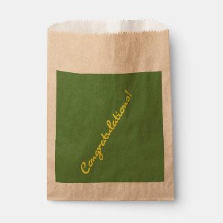 Congratulations Yellow Casual Script Favour Bag