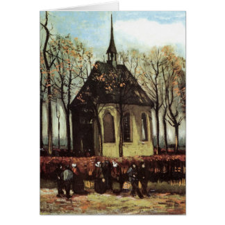 Congregation exiting Church in Nuenen - van Gogh Greeting Card