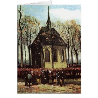 Congregation exiting Church in Nuenen - van Gogh Greeting Card