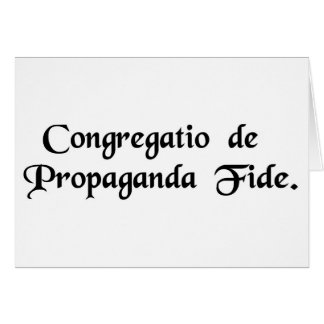 Congregation for the Propagation of the Faith. Greeting Card