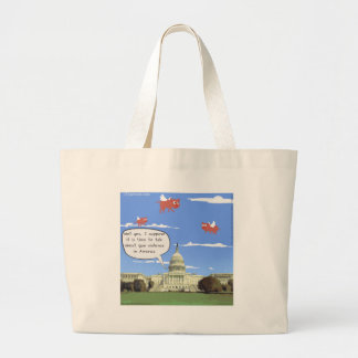 Congress & Gun Violence Talk When Pigs Fly Large Tote Bag