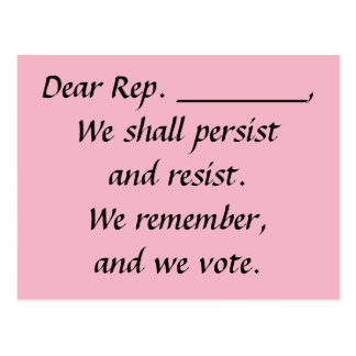 Congress Persist Resist Remember Vote Postcard