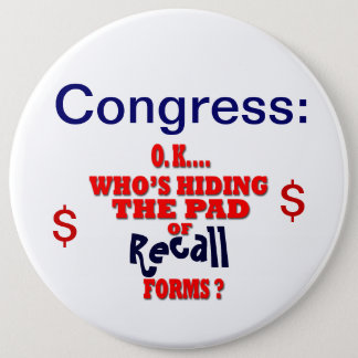 Congress Recall 6 Inch Round Button