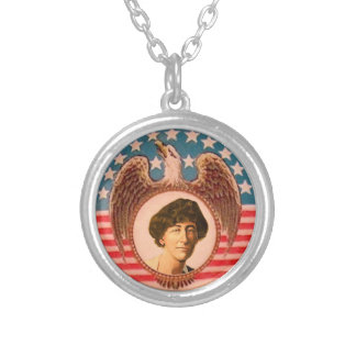 Congresswoman Jeanette Rankin Silver Plated Necklace