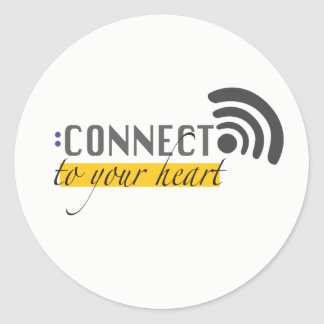 Connect to your heart stikers classic round sticker