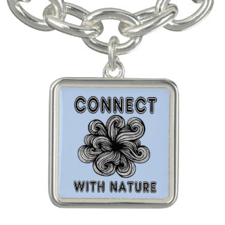 """Connect with Nature"" Square Charm Bracelet"