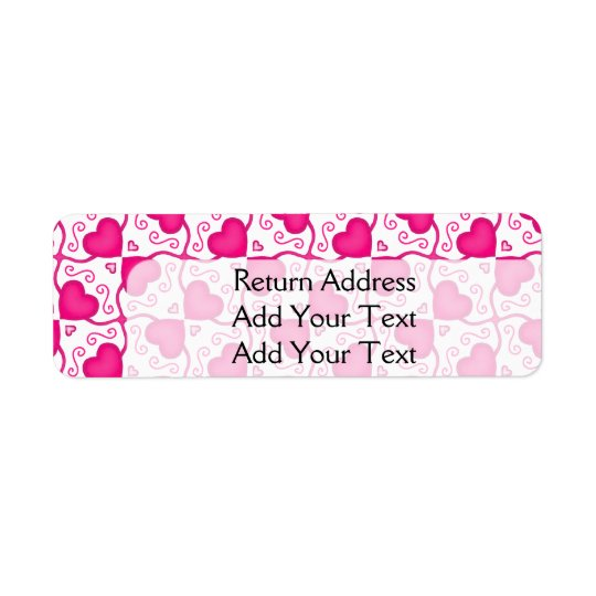 Connected Hearts Hot Pink on White Valentine's Day Return Address Label
