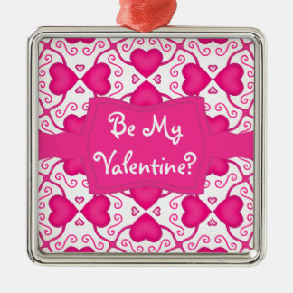 Connected Hearts Hot Pink on White Valentine's Day Silver-Colored Square Ornament