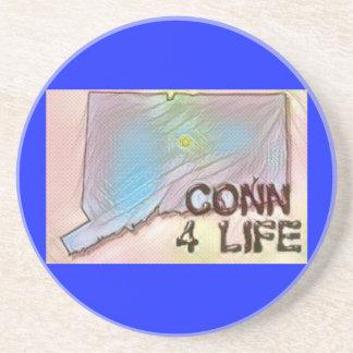 """Connecticut 4 Life"" State Map Pride Design Coaster"