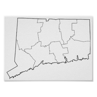 Connecticut Counties Blank Outline Map Poster
