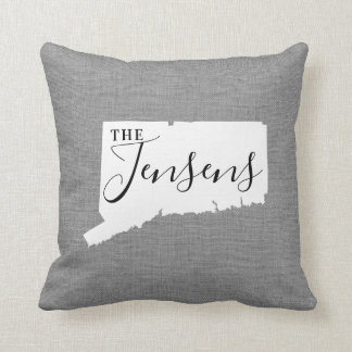 Connecticut Family Monogram State Throw Pillow