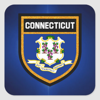 Connecticut Flag Square Sticker