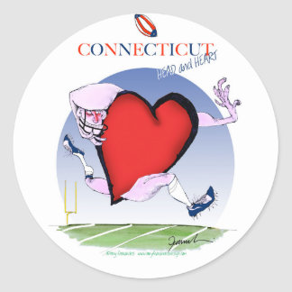connecticut head heart, tony fernandes classic round sticker