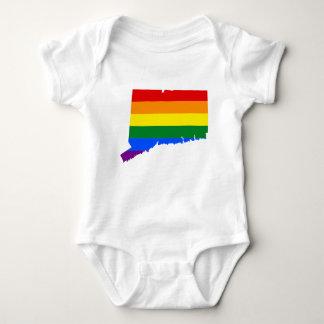 Connecticut LGBT Flag Map Baby Bodysuit