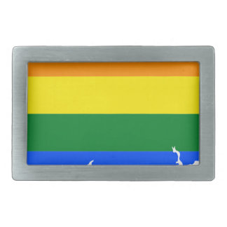 Connecticut LGBT Flag Map Belt Buckle
