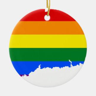 Connecticut LGBT Flag Map Ceramic Ornament