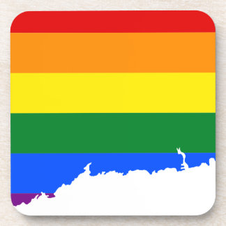 Connecticut LGBT Flag Map Coaster