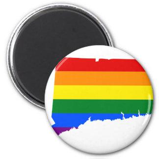 Connecticut LGBT Flag Map Magnet
